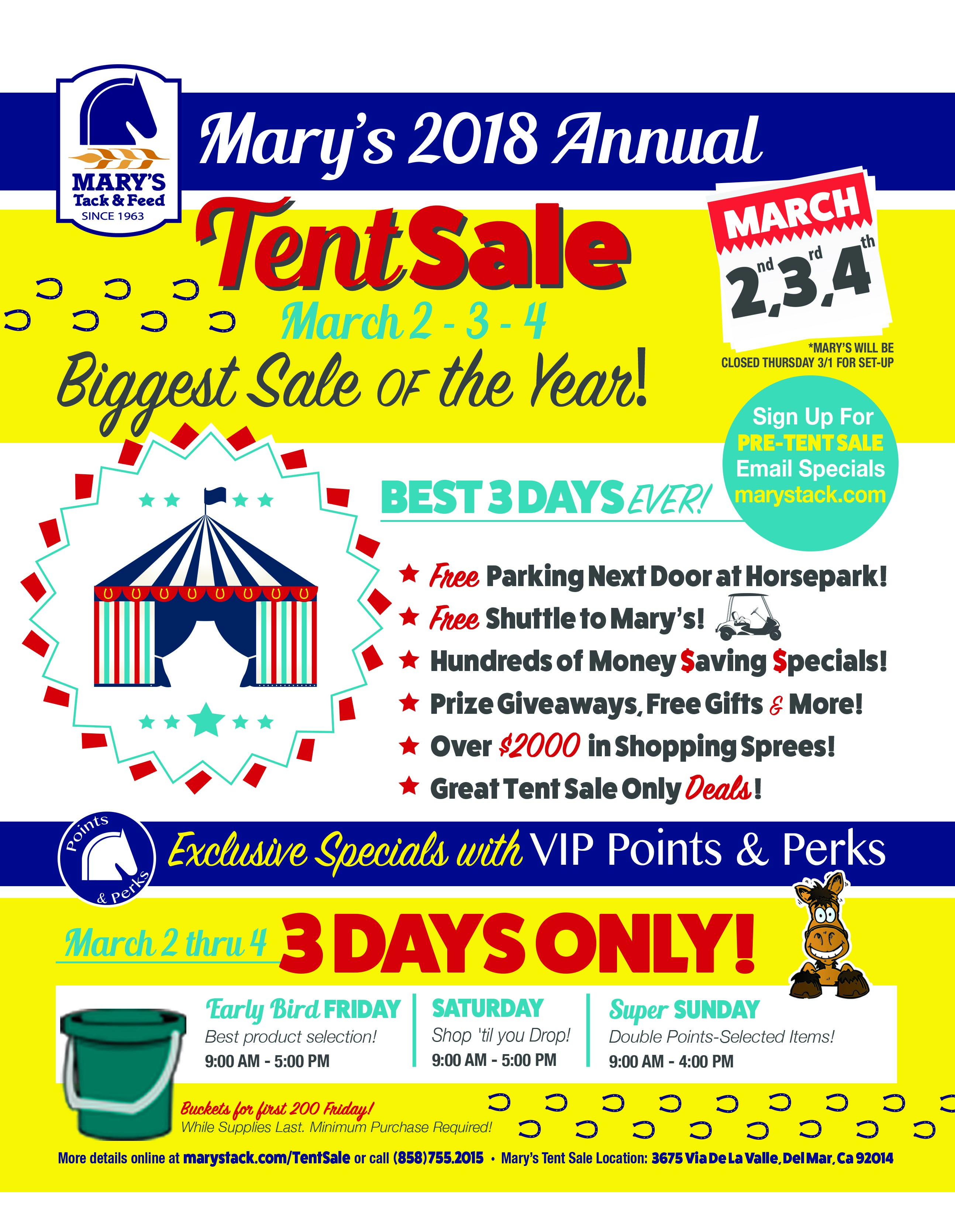 Tent Sale 2018 - March 2,3,4